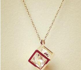 Fashion Cube Crystal Necklace for Girls