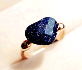 Blue Obsidian Jelly Heart Rings